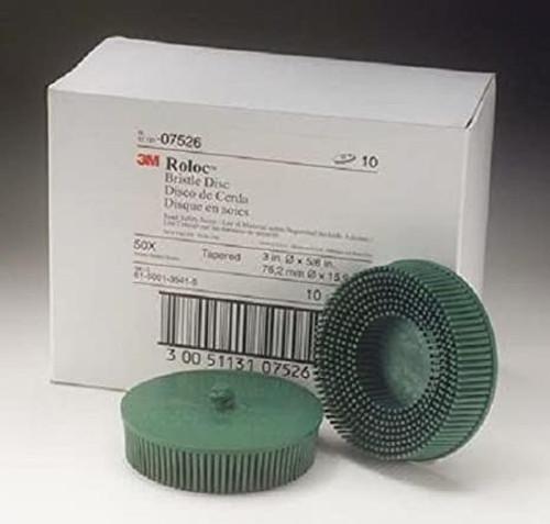 """3M 07526 3"""" Scotch-Brite Roloc Bristle Discs 50 Grit Coarse Green 10/Box"""