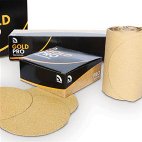 "USC 82414 6"" P320 Grit Gold Pro Velcro Discs 50/Box"