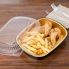 Medium 47 oz. Black and Gold Foil Entrée or Take Out Pan with Dome Lid - Case of 50