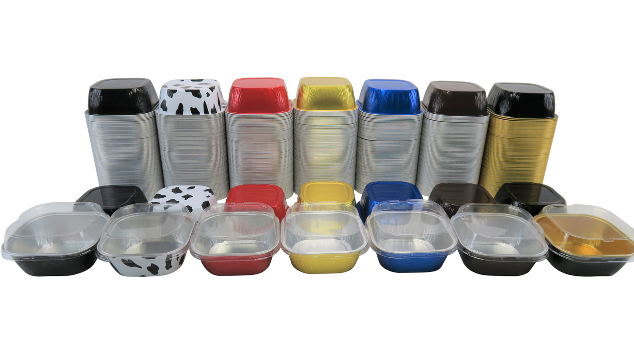 dessert pans with lids, dessert pans, individual desserts, flan cups, crème brulee, foil cups, colored foil pans