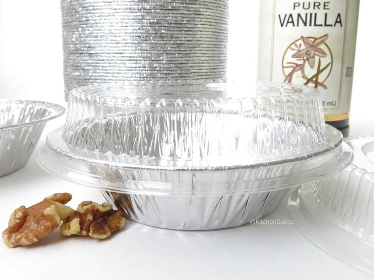 "5"" Disposable 8 oz.  Foil Tart or Pie Pan w/ Snap on Lids  Case of 1000 - #501P"