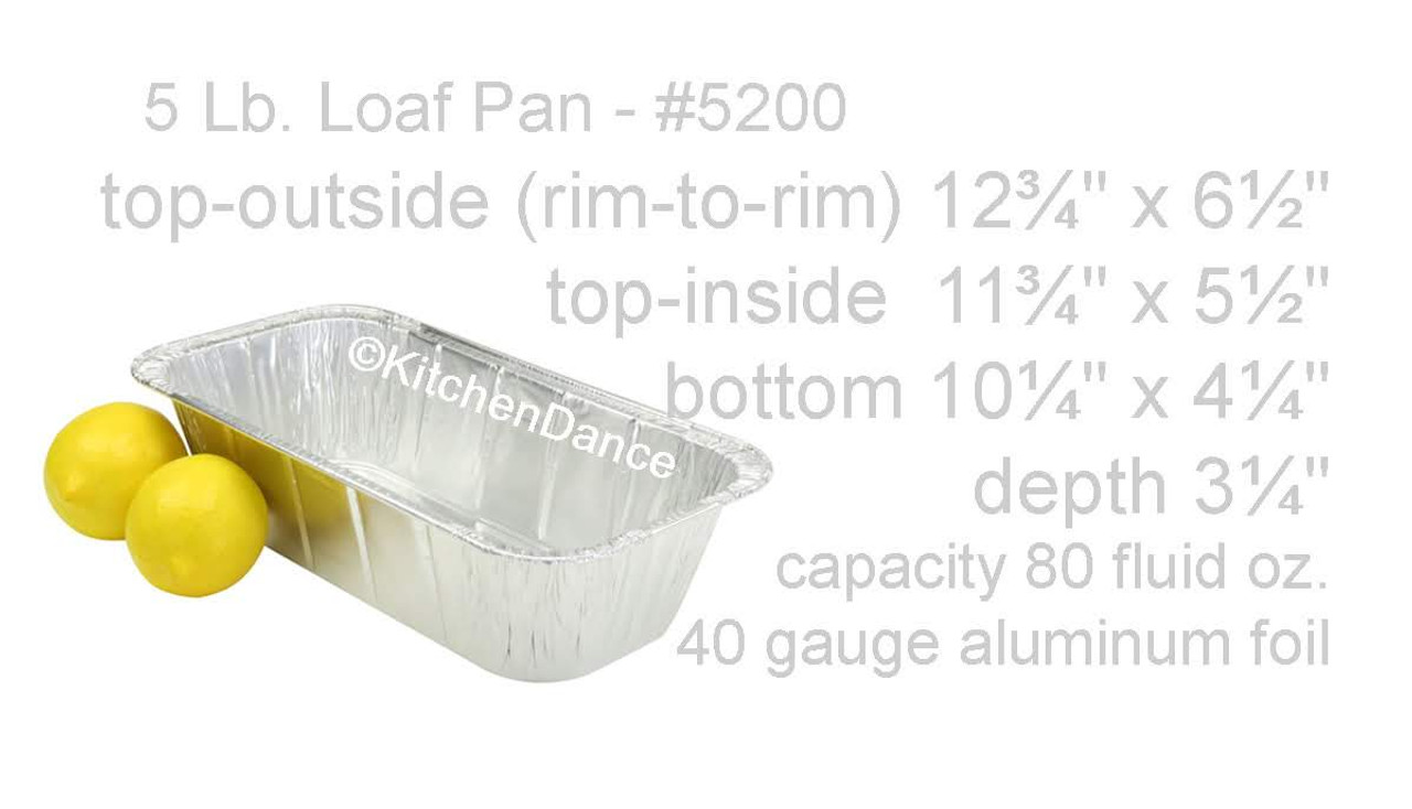 Disposable Foil 5 lb. Loaf Pan or ⅓ Size Steam Table - Case of 200- #5200