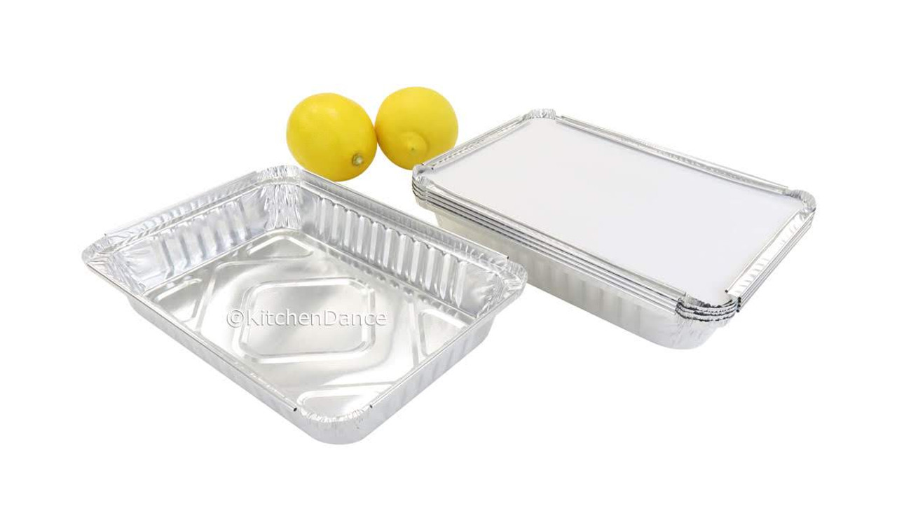 1½ lb. Shallow Oblong Foil Pan with Board Lid - Case of 500  #230L