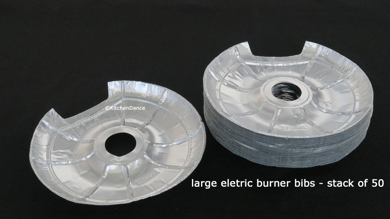 Pack of 50-25 Large-25 Small Electric Stove Bib Electric Disposable Foil Burner Liners
