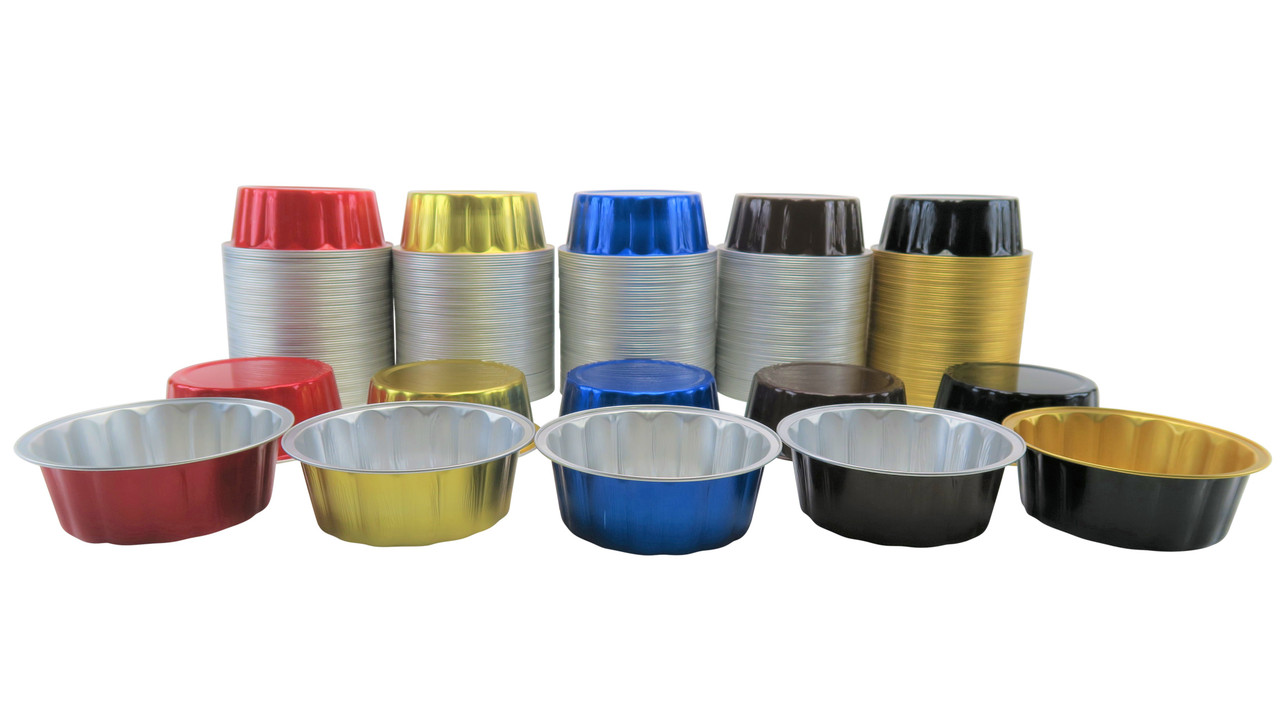 8 oz. Round Disposable Aluminum Foil Colored Dessert pan - Case of 1000- #A8NL