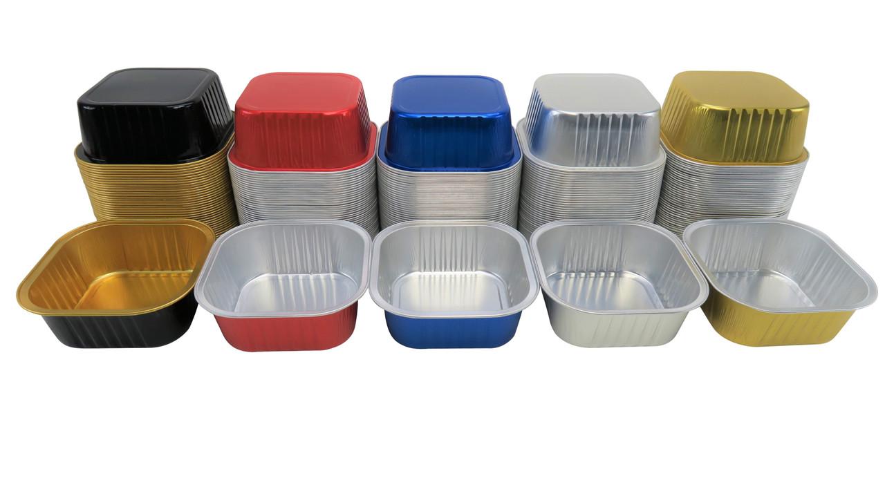 11 oz  Square Colored Aluminum Dessert Pans - Case of 1000  #A24NL
