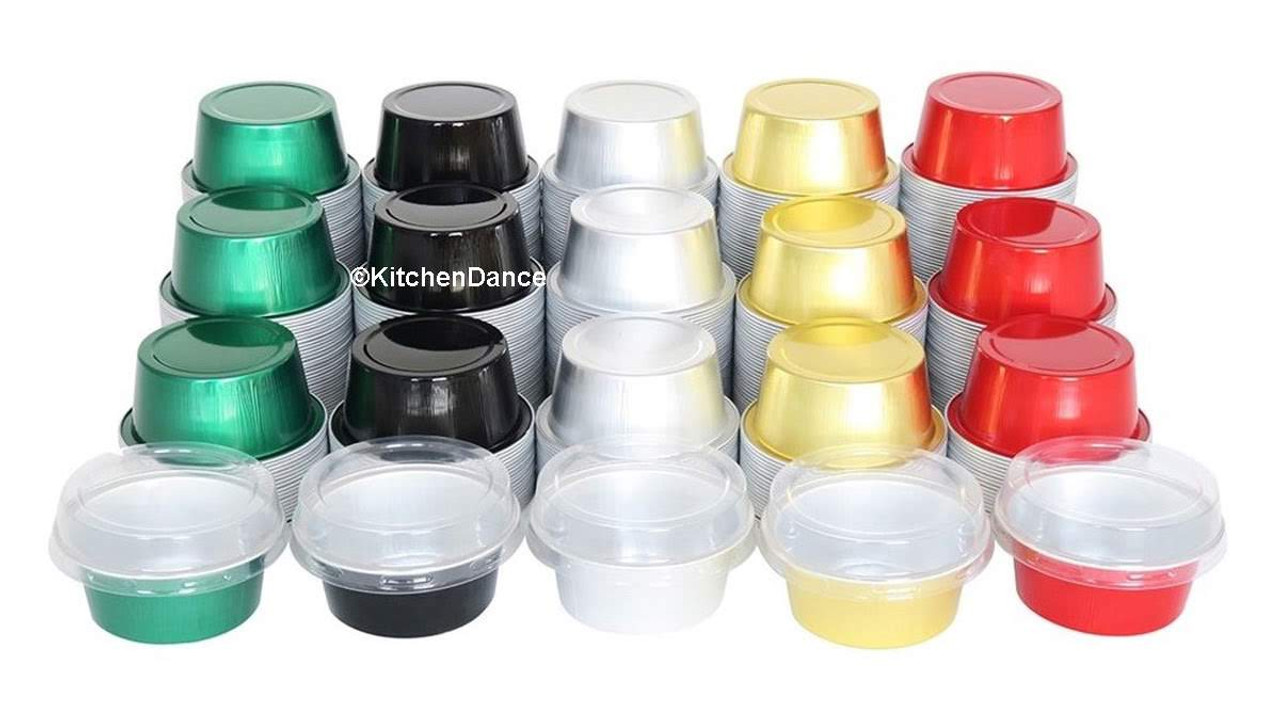 1½ oz. Colored Mini Foil Cups with Snap-on Lid - Case of 2000  #A45P