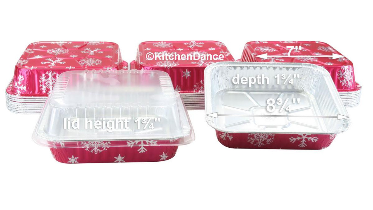 """8"""" Square Holiday Cake Pan with Plastic Lid - Case of 100  #9101X"""