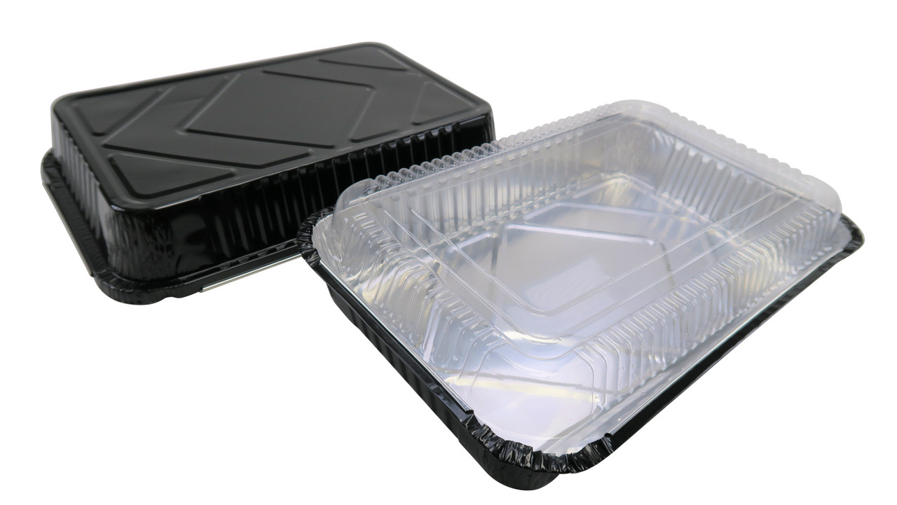 4 ½ lb. Colored Disposable Food Pan w/ Plastic Lid - Case of 200  #52180P