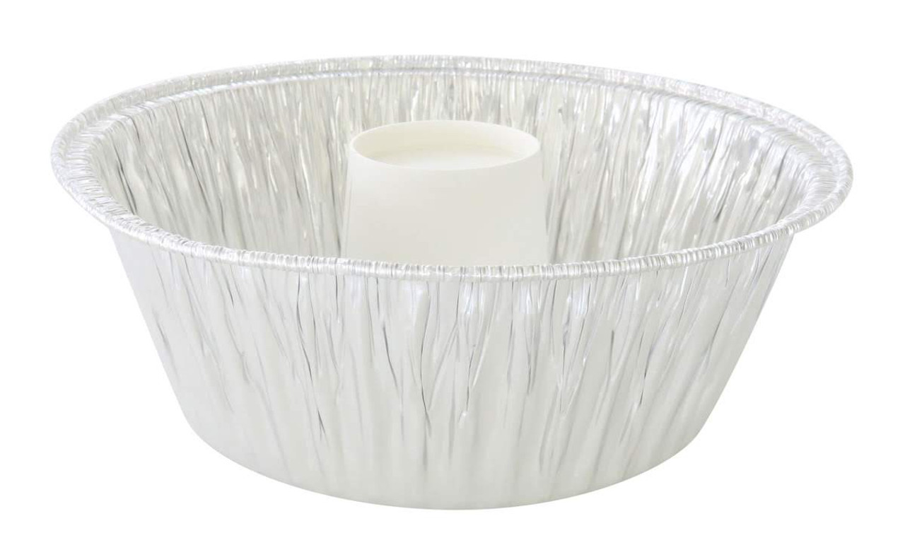 "10"" Angel Food Cake - Bundt Pan with Plastic Lid - Combo pack of 100 #4063"