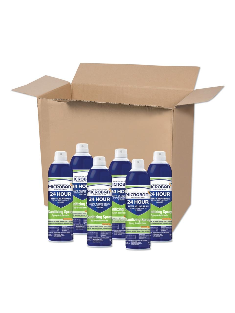 Microban 24 hour Sanitizing Spray- 15 oz. Bottles- Citrus scent - Case of 6