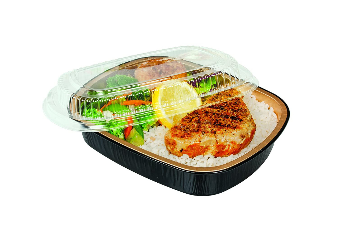 23 oz.  Black and Gold Foil Entrée or Take Out Pan with Dome Lid - Case of 100