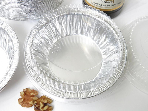 "5"" Disposable 8 oz.  Foil Tart or Pie Pan w/ Snap on Lids  Case of 1000 - #501P"