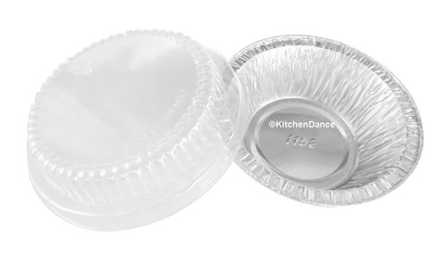 "4"" Disposable Foil Tart or Pie Pan w/ Dome Lid - Case of 2000  #1152P"