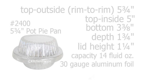 "5¾"" Disposable Aluminum Pot Pie Pan - Extra Deep -  w/ High Dome Lid - Case of 1000   #2400P"