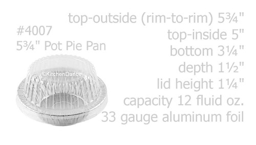 "Handi-Foil  5¾"" Disposable Foil Pot Pie Pan w/ Dome Lid - Case of 1000 - #4007P"