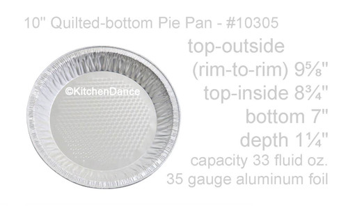 """10"""" Quilted-Bottom Disposable Aluminum Foil Pie Pan - Case of 500 - #10305"""
