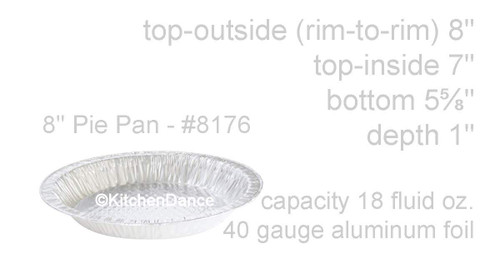 "8"" Quilted Disposable Aluminum Pie Pan Case of 500  #8176"