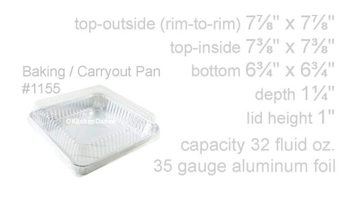 "8"" Foil Square Cake Pan with Plastic Dome Lid - Case of 500  #1155P"