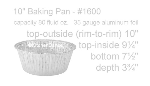 "10"" Round Disposable Foil All Purpose Deep Baking Pan -  Case of 250 - #1600"