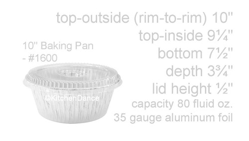"10"" All Purpose Round Foil Pan with Snap-on Lid - Case of 250  #1600P"
