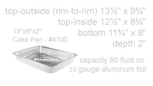 "13"" x 9"" x 2"" All-Purpose Disposable Foil Cake Pan - Case of 250 - #4700NL"