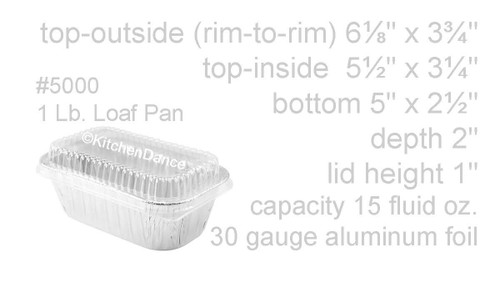 1 lb. Disposable Aluminum Mini Loaf Pan w/ Plastic Lid - Case of 200 - #5000P