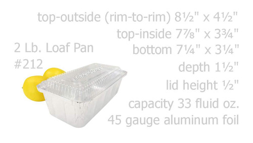 2 lb. Disposable Foil  Loaf Pan with Crimp-on Plastic Lid - Case of 500 -  #212P
