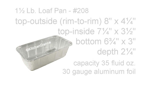 1½ lb. Disposable Aluminum Foil Loaf Pan - Case of 500  #208NL