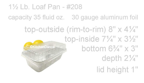 1½ lb. Foil Loaf Pan with Clear Dome Lid - Case of 500 - #208P