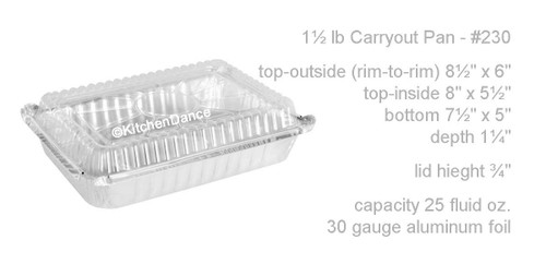 1½ lb. Shallow Carry Out Foil Pan with Plastic Lid - Case of 500 -  #230P
