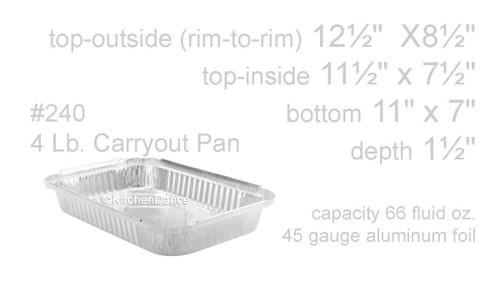 4 lb. Disposable Oblong  Food Pan with Board Lid  -Case of 250  #240L