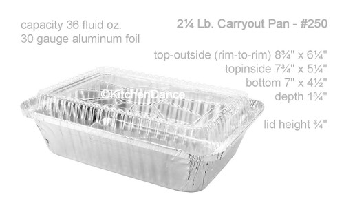 2¼ lb. Disposable Takeout  Pan with Plastic Lid - Case of 500 #250P