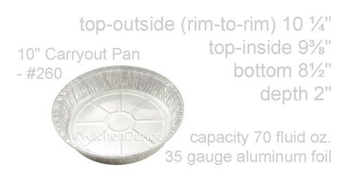 "Disposable 10"" Round Foil Carryout Pan with Board Lid  Case of 250- #260L"