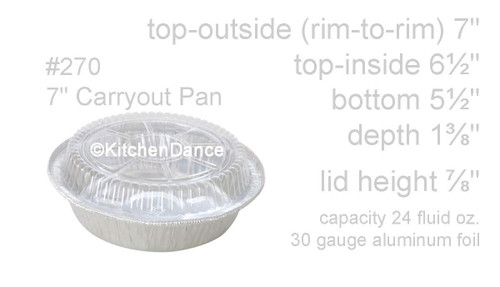 """7"""" Disposable Foil Takeout Container with Plastic Lid - Case of 500 - #270P"""