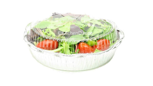 "8"" Round Carryout Pan with Plastic Dome Lid   Case of 500 #280P"