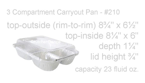 3 Compartment Meal Tray with Plastic Lid -  Case of 250  #210P