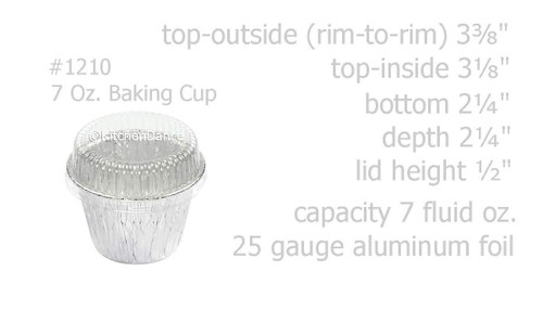 7 oz. Disposable Foil Dessert Cup with Plastic Lid - Case of 2000 - #1210P