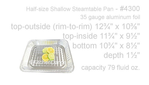 Disposable Half Size Foil Steam Table Pan - Shallow - Case of 100 - #4300