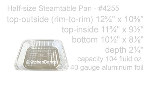 Disposable Half Size Foil Steam Table Pan - Medium Depth - Case of 100 - #4255