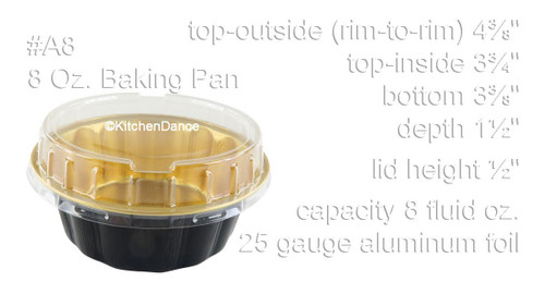 8 oz. Round Colored Disposable Foil Pan with Snap-on Plastic Lid - Case of 1000 - #A8P