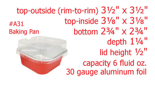 6 oz. Square Colored Aluminum Dessert Pan With Lid - Case of 2000 - #A31P