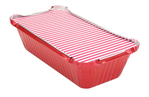 1½ lb. Closable Colored Foil Loaf Pan with Board Lid - Case of 1000 - #1650L