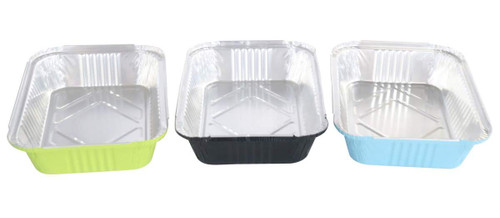 3.75 lb. Colored Carryout Foil Pan with Board Lid - Case of 500 - #3227L