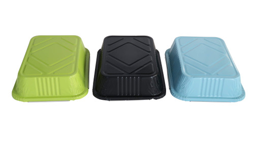 3.75 lb. Colored Carryout Foil Pan with Plastic Lid - Case of 500 - #3227P