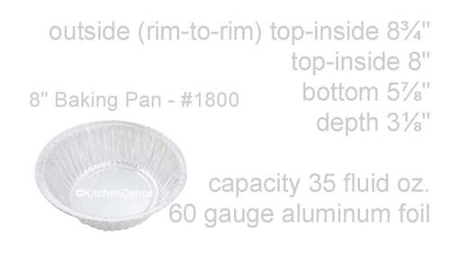 "8"" Disposable Cheesecake/Casserole Foil Pan  Case of 250 - #1800"