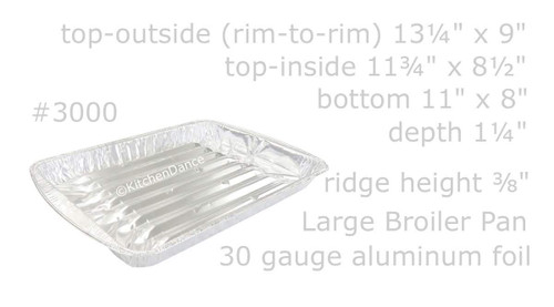 Large Disposable Aluminum Foil Broiler Pan - Case of 100  #3000