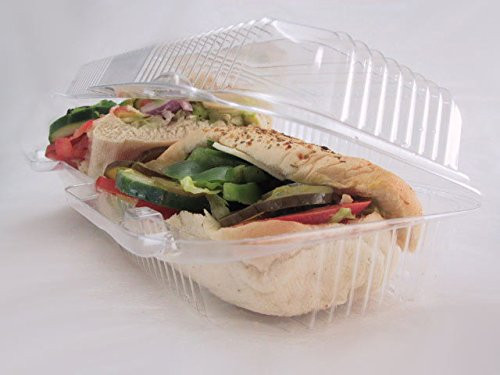 "12"" Plastic Hinged Sandwich/Danish Container  Case of 250 - #CPC-350"