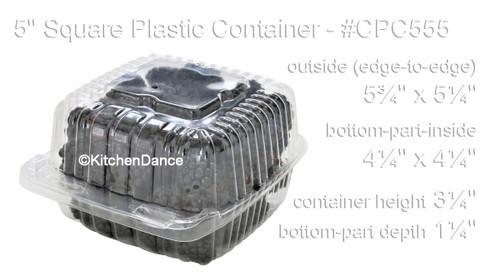 "5"" Square Plastic Hinged Deli Container - Case of 500 #CPC-555"