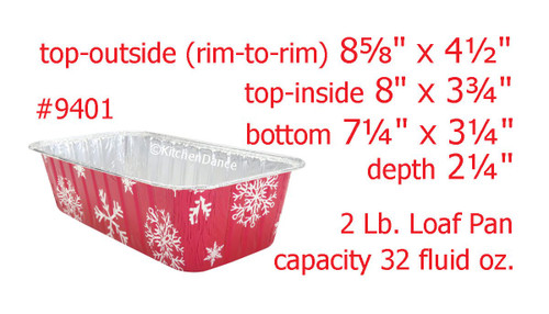 2 lb. Holiday Foil Loaf Pan with Plastic Lid - Case of 100  #9401P